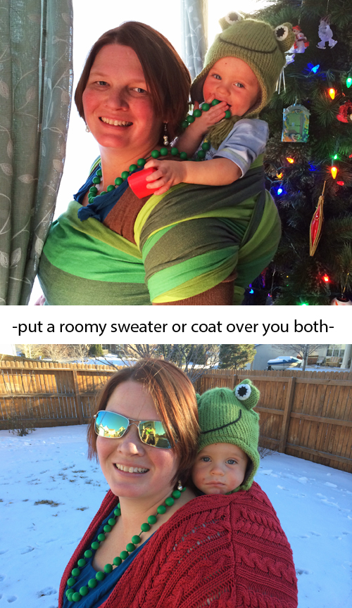 Winter Babywearing can be as simple as adding a sweater or coat