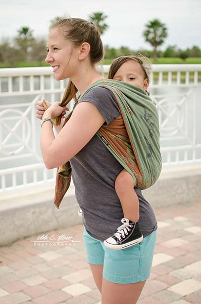 Flip Shoulder Side View of Double Rebozo Carry with a Woven Wrap