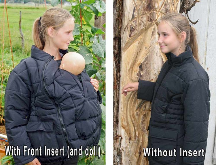 Wyoming Babywearing Coat with and without baby