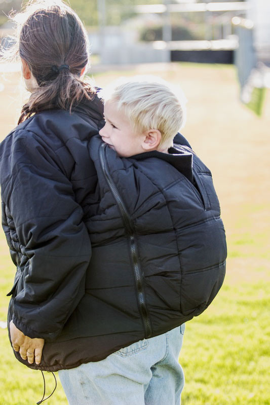 Back Carry in Wyoming Babywearing Coat