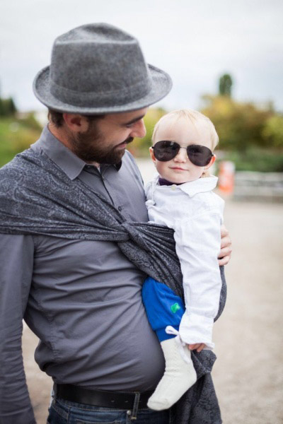 Cool dad and baby in Paisley Silver