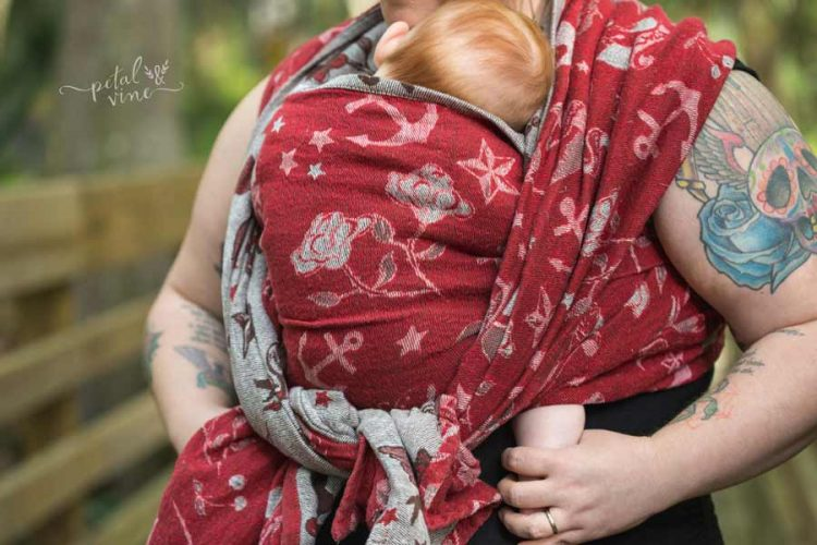 Red side (wrong side) of Natibaby Tattooed Brown Wrap