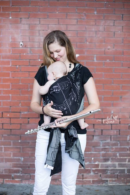 Cuddled baby in Natibaby Notes, music wrap