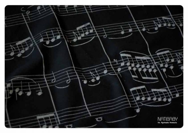 Sheet music to Beethoven's Ode to Joy in a woven wrap