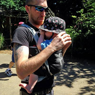 Front Wrap Cross Carry on Babywearing Dad
