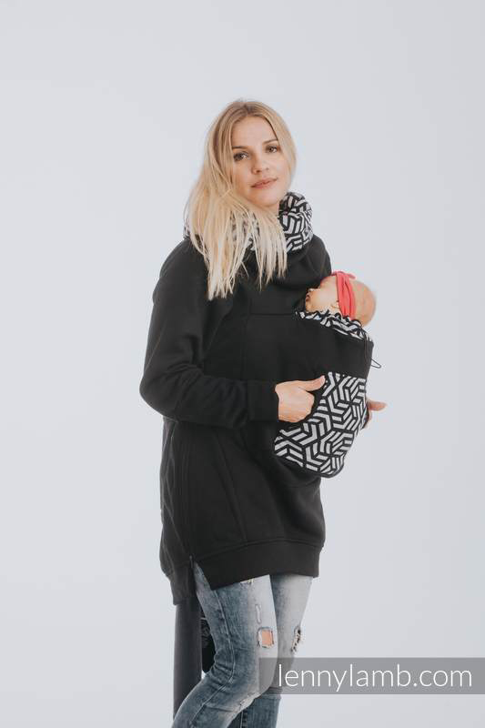 Lenny Lamb Babywaering Sweatshirt Black with Hematite front Carry