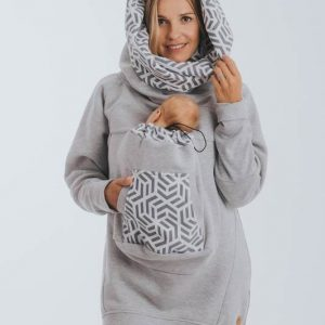 Lenny Lamb Hoodie Front Carry Gray with Pearl