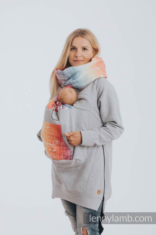 Lenny Lamb Babywearing Sweatshirt Gray with Symphony Rainbow Light