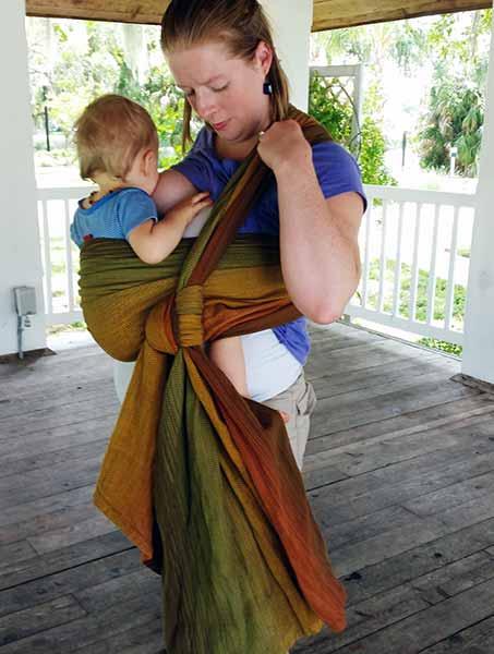 Nursing Carry in Girasol Sherwood Wrap