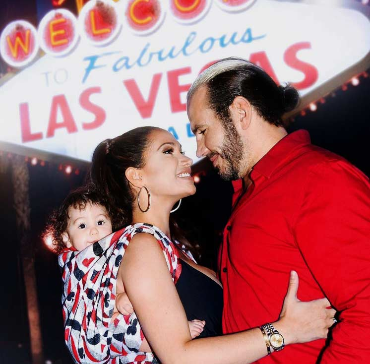 Broken Matt Hardy and Reby Hardy babywearing in Las Vegas