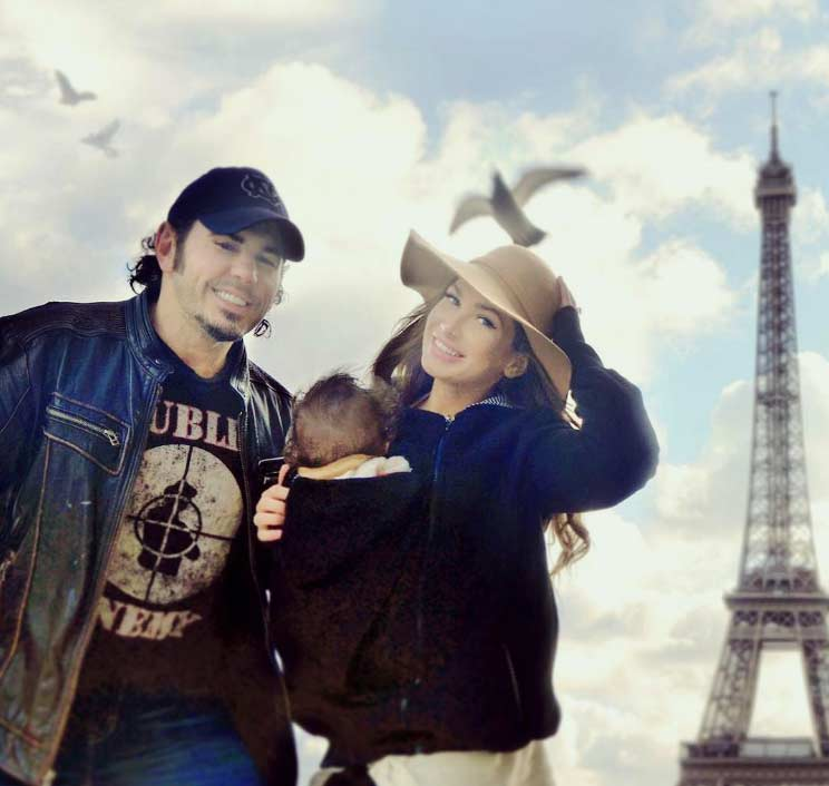 Rebecca and Matt Hardy Baby wearing in Paris