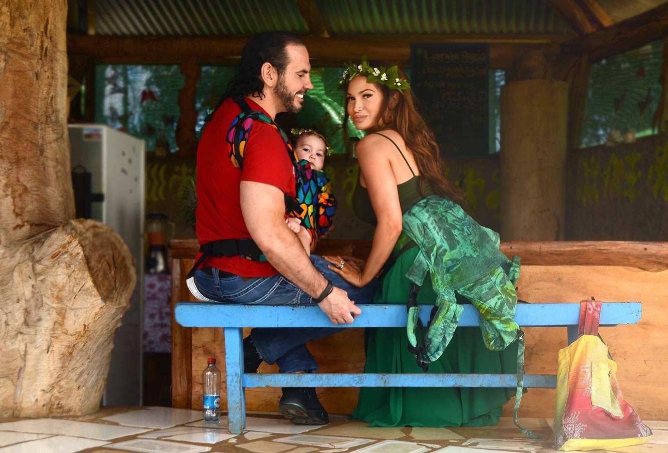 Rebecca Hardy and Matt Hardy babywearing Maxel