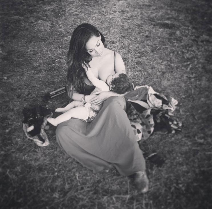 Reby Sky nursing baby Maxel