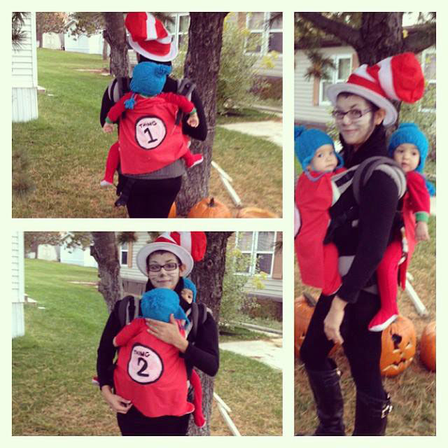 Cat in the Hat Babywearing Costume for twins