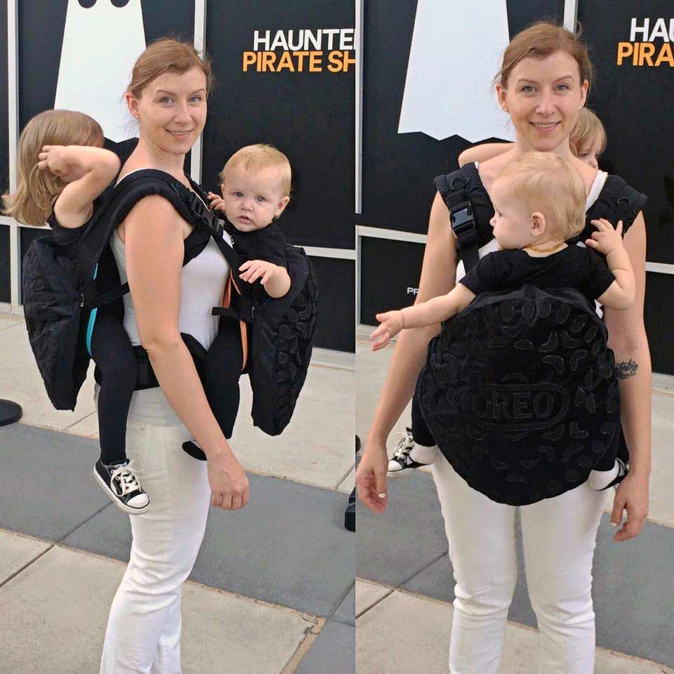 Tandem Babywearing Costume - oreo with cream in the middle!