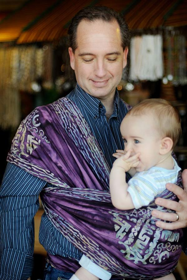 Dad and Toddler wrapped in Wrapsody Aphrodite baby wrap
