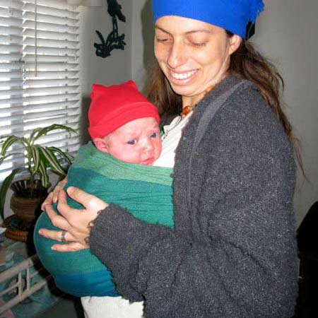 Newborn Traditional Sling Carry (formerly rebozo) in a size 2 wrap