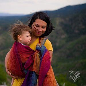 Girasol Rainbow Love wrap for babywearing