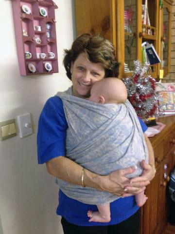 Babywearing Grandma in Woven Wrap