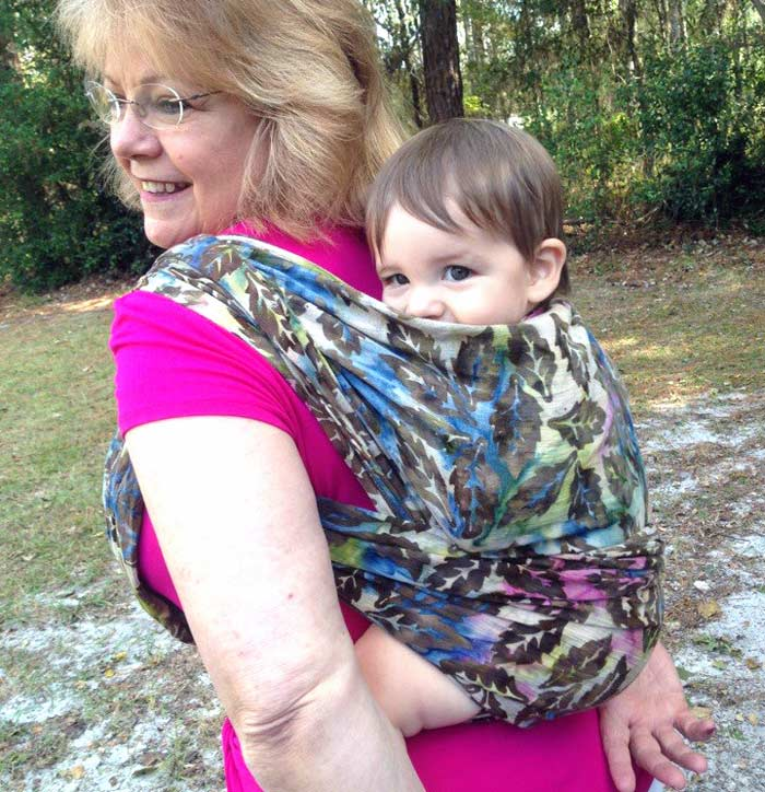 Babywearing Grandma in a Woven Wrap