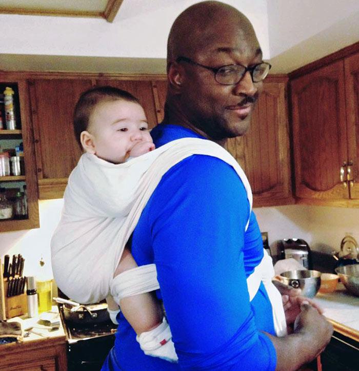 Babywearing Grandpa in a Woven Wrap