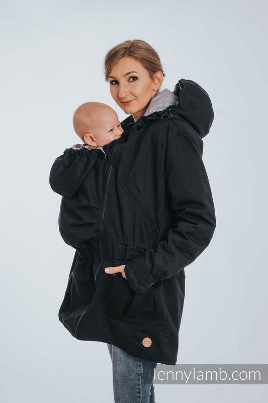 Lenny Lamb Babywearing Parka in Black and Gray Reverse