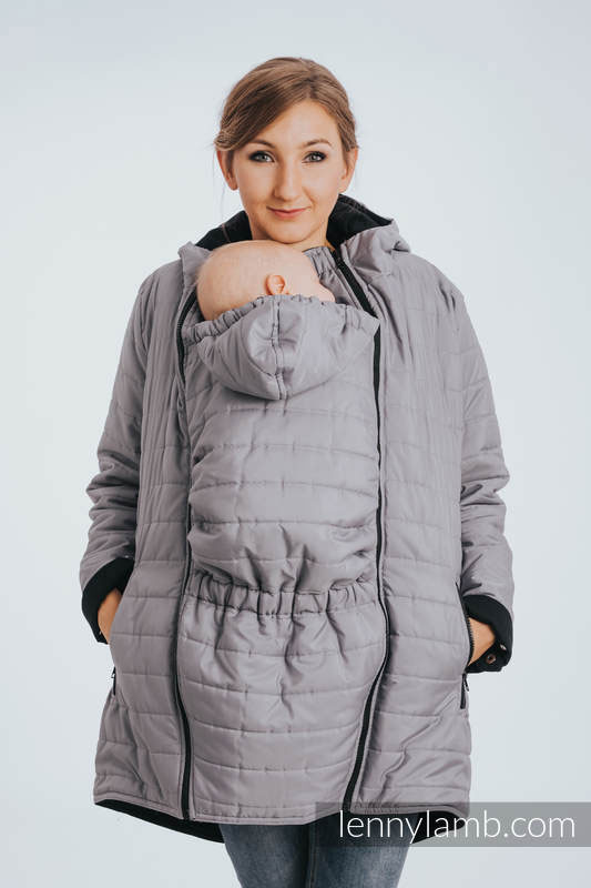 Reversible Babywearing Parka Grey and Black