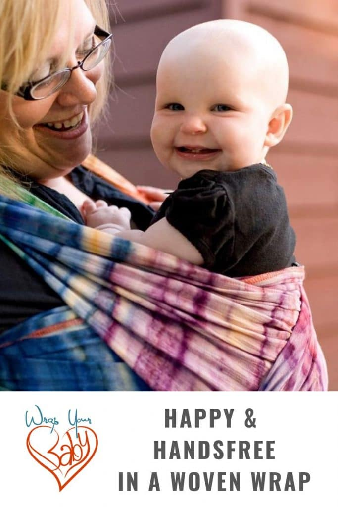 Secure and hands free babywearing in a woven wrap