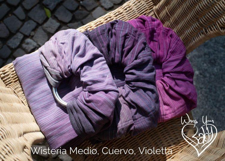 Wisteria Girasol Ring Slings Medio, Cuervo, Violetta wefts