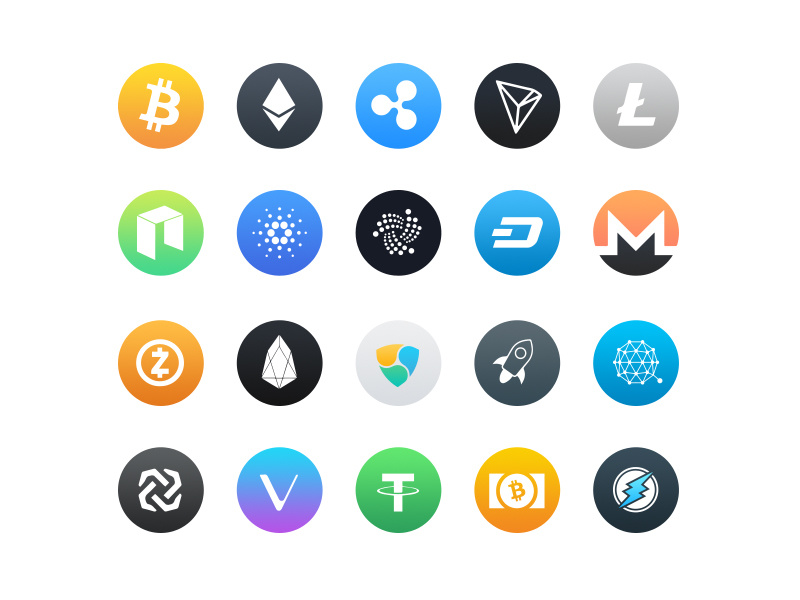 Bicoin and altcoin logos.