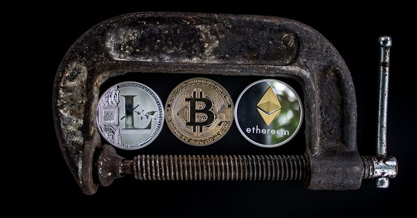 Lock holding bitcoin, litecoin and ethereum together