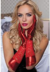 LACE & LAME ELBOW LENGTH GLOVES-RED- O/S
