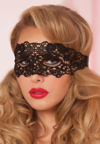 GALLOON LACE EYE MASK - BLACK - O/S Medium Front
