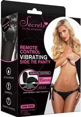 VIBRATING SIDE TIE PANTY W/REMOTE-BK-OS