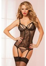 DOUBLE DARE CHEMISE & THONG-BLACK-OS