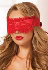 SATIN & LACE EYELASH MASK - RED - OS