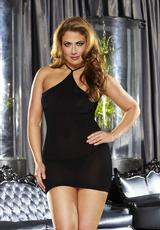 VIP MINI DRESS - SOLID BLACK-PLUS