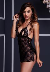 BLACK LACE BABYDOLL - 1 PC - ONE SIZE