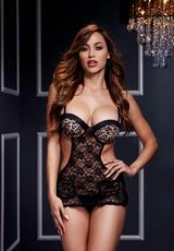 LEOPARD LACE CUT OUT BASQUE NO PANTY