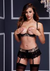 WILD LACE DEMI CUP BRA GARTER SET 3 PC