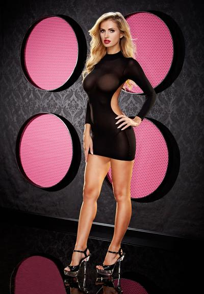 LONG SLEEVE BACKLESS MINI DRESS - BLACK Medium Front
