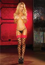 LACE TOP THIGH HIGH - RED Medium Front