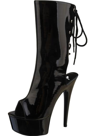 "6"" BLACK PATENT PLAT LACEUP KNEE HI BOOT Medium Front"