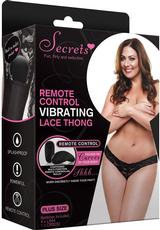 VIBRATING LACE THONG W/REMOTE BLK-PLUS
