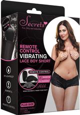 VIBRATING LACE BOYSHORT/REMOTE BLK-PLUS