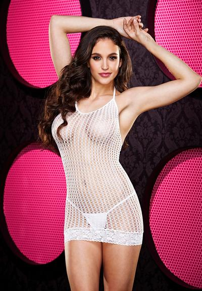 LACE MINI DRESS-WHITE Medium Front