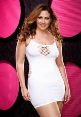 CASH CAGE MINI DRESS-WHITE- PLUS