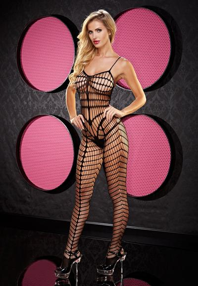 SMOKIN HOT SEAMLESS BODYSTOCKING- BLACK Medium Front