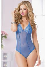 FLORAL GALLON LACE AND MESH TEDDY-BLU-OS