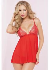 TWO PIECE BABYDOLL AND THONG SET-RED-O/S